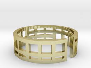Architecture ring Corbusier Unité d'Hab size 7-8 in 18k Gold Plated Brass