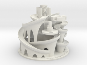 The 3D Printed Marble Machine #3 in White Natural Versatile Plastic
