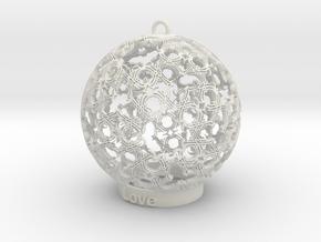 love Ornament in White Natural Versatile Plastic: Small