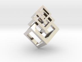 3 interlaced cubes necklace  in Platinum: Medium