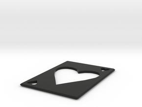 Throwing Card Hearts  in Black Natural Versatile Plastic
