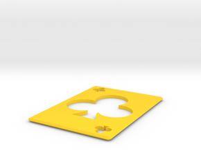 Throwing Card Clubs  in Yellow Processed Versatile Plastic