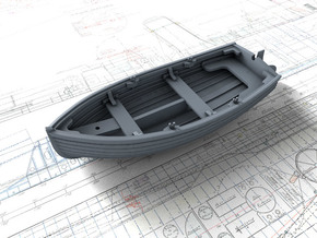 5.5cm Dinghy with Rudder in Smooth Fine Detail Plastic