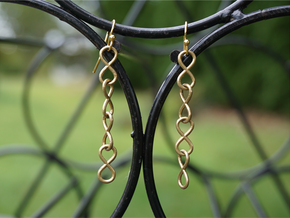 Infinity Chain Earrings in Natural Brass (Interlocking Parts)