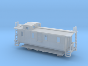 Illinois Central Side Door Caboose II - Nscale in Smooth Fine Detail Plastic