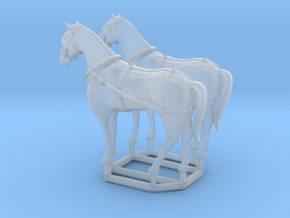2 pack HO scale horses with harnesses variant 2 in Smooth Fine Detail Plastic