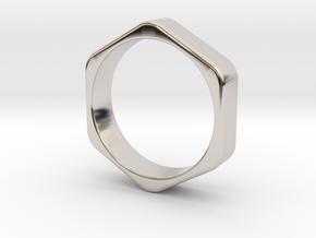 Hex Nut Ring - Size 10 in Platinum