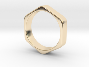 Hex Nut Ring - Size 10 in 14k Gold Plated Brass
