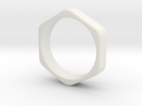 Hex Nut Ring - Size 10 in White Natural Versatile Plastic