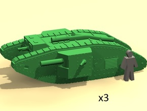 6mm WW1 Mk.IV Male tank in Smoothest Fine Detail Plastic