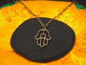 Hamsa Pendant in Polished Bronzed Silver Steel