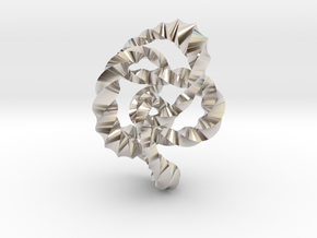 Knot 8₂₀ (Twisted square)  in Rhodium Plated Brass: Extra Small