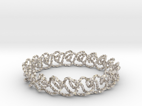 Chain stitch knot bracelet (Twisted square) in Platinum: Extra Small