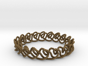 Chain stitch knot bracelet (Rope) in Natural Bronze: Extra Small