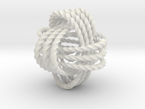 Monkey's fist knot (Twisted square) in White Natural Versatile Plastic: Extra Small