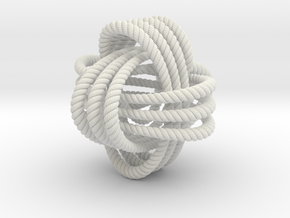 Monkey's fist knot (Rope with detail) in White Natural Versatile Plastic: Extra Small