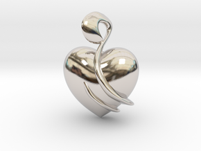 Heart Amulet Abstract in Rhodium Plated Brass