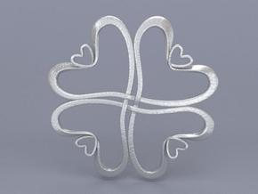 Hearts knot in Polished Bronzed Silver Steel