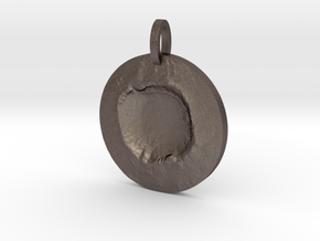 Meteor Crater Map Pendant, Circle Cut in Polished Bronzed Silver Steel