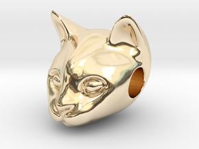 Cat Lover Friendship Bracelet Charm - Smiley Cat in 14K Yellow Gold