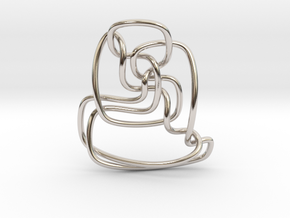 Thistlethwaite unknot (Circle) in Rhodium Plated Brass: Extra Small