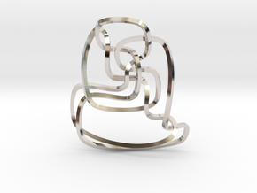 Thistlethwaite unknot (Square) in Rhodium Plated Brass: Extra Small