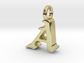 A - Pendant - 3 mm thk. in 18k Gold Plated Brass