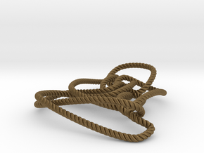 Thistlethwaite unknot (Rope with detail) in Natural Bronze: Medium