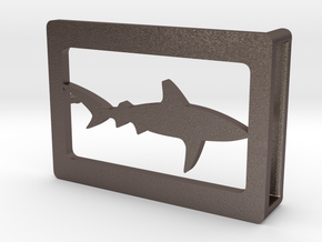 Belt Buckle - Shark - M1FE in Polished Bronzed Silver Steel