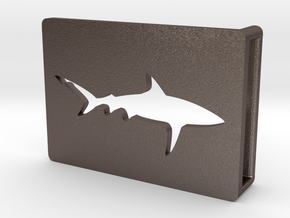 Belt Buckle - Shark - M1SE in Polished Bronzed Silver Steel