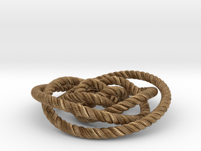 Rose knot 2/5 (Rope with detail) in Natural Brass: Medium