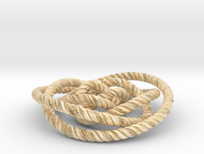 Rose knot 2/5 (Rope with detail) in 14k Gold Plated Brass: Medium