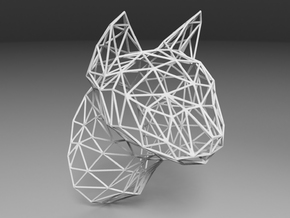 Wireframe Cat head in White Natural Versatile Plastic