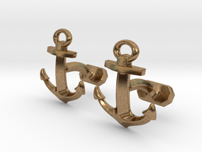 Anchor Cufflinks in Natural Brass