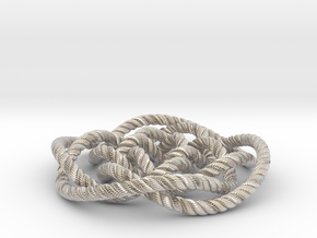 Rose knot 4/5 (Rope with detail) in Rhodium Plated Brass: Medium