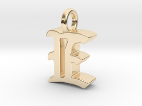 E - Pendant - 3 mm thk. in 14K Yellow Gold