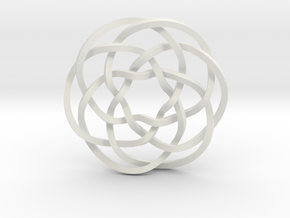 Rose knot 6/5 (Square) in White Natural Versatile Plastic: Extra Small
