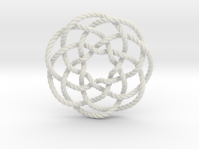 Rose knot 7/5 (Rope) in White Natural Versatile Plastic: Extra Small