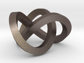 Trefoil knot (Square) in Polished Bronzed Silver Steel: Extra Small