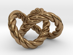 Trefoil knot (Rope) in Natural Brass: Extra Small