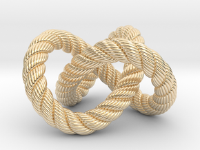 Trefoil knot (Rope with detail) in 14k Gold Plated Brass: Medium