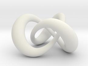 Varying thickness trefoil knot (Circle) in White Natural Versatile Plastic: Medium