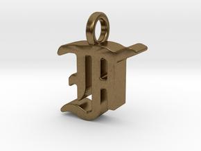 F - Pendant - 3 mm thk. in Natural Bronze