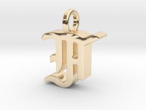 F - Pendant - 3 mm thk. in 14K Yellow Gold
