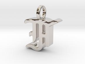 F - Pendant - 3 mm thk. in Rhodium Plated Brass