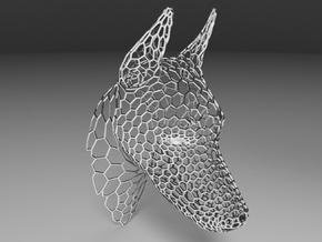Voronoi Doberman head in White Natural Versatile Plastic