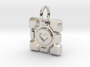 Portal Companion Cube Thin Pendant in Rhodium Plated Brass