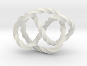 Whitehead link (Twisted square) in White Natural Versatile Plastic: Extra Small