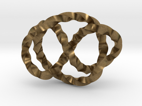 Whitehead link (Twisted square) in Natural Bronze (Interlocking Parts): Extra Small