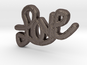 Love Pendant in Polished Bronzed Silver Steel